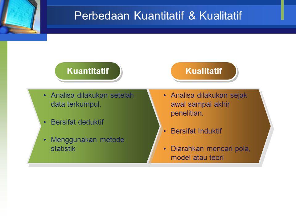 Perbedaan Kuantitatif & Kualitatif Analisa dilakukan sejak awal sampai akhir penelitian. Bersifat Induktif Diarahkan mencari pola, model atau teori An