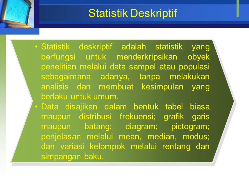 Statistik Deskriptif Statistik deskriptif adalah statistik yang berfungsi untuk menderkripsikan obyek penelitian melalui data sampel atau populasi seb
