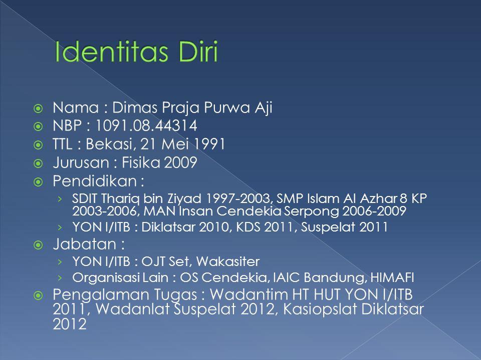  Nama : Dimas Praja Purwa Aji  NBP : 1091.08.44314  TTL : Bekasi, 21 Mei 1991  Jurusan : Fisika 2009  Pendidikan : › SDIT Thariq bin Ziyad 1997-2