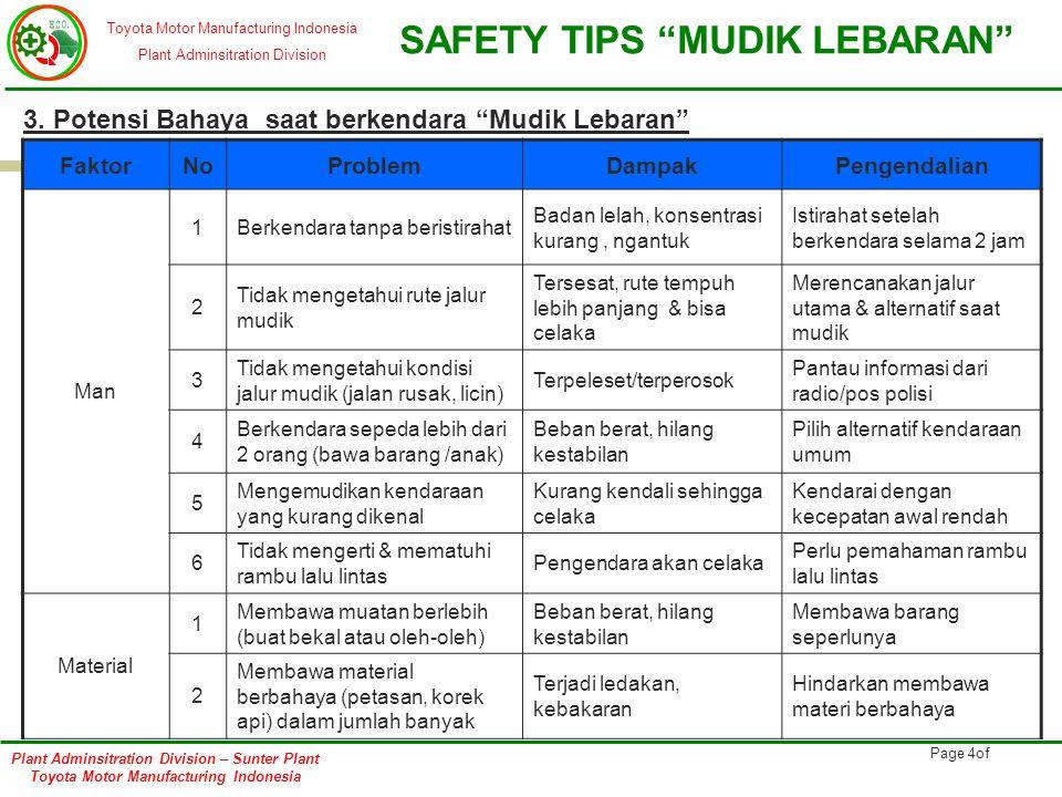 Toyota Motor Manufacturing Indonesia Plant Adminsitration Division SAFETY TIPS MUDIK LEBARAN Plant Adminsitration Division – Sunter Plant Toyota Motor Manufacturing Indonesia Page 5of 3.