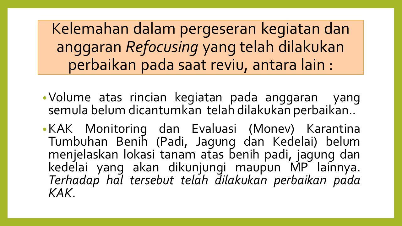 Kelemahan dalam pergeseran kegiatan dan anggaran Refocusing yang telah dilakukan perbaikan pada saat reviu, antara lain : Volume atas rincian kegiatan