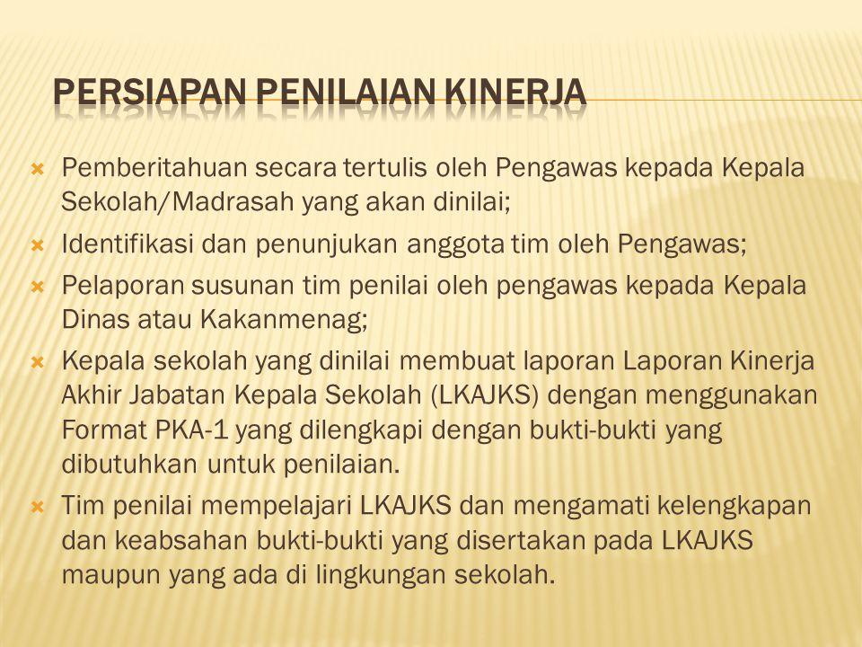  Pemberitahuan secara tertulis oleh Pengawas kepada Kepala Sekolah/Madrasah yang akan dinilai;  Identifikasi dan penunjukan anggota tim oleh Pengawa