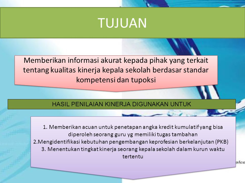 TUJUAN Memberikan informasi akurat kepada pihak yang terkait tentang kualitas kinerja kepala sekolah berdasar standar kompetensi dan tupoksi 1. Member
