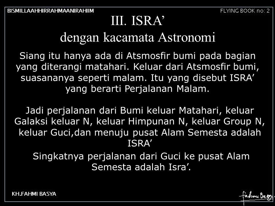 III. ISRA' dengan kacamata Astronomi Siang itu hanya ada di Atsmosfir bumi pada bagian yang diterangi matahari. Keluar dari Atsmosfir bumi, suasananya