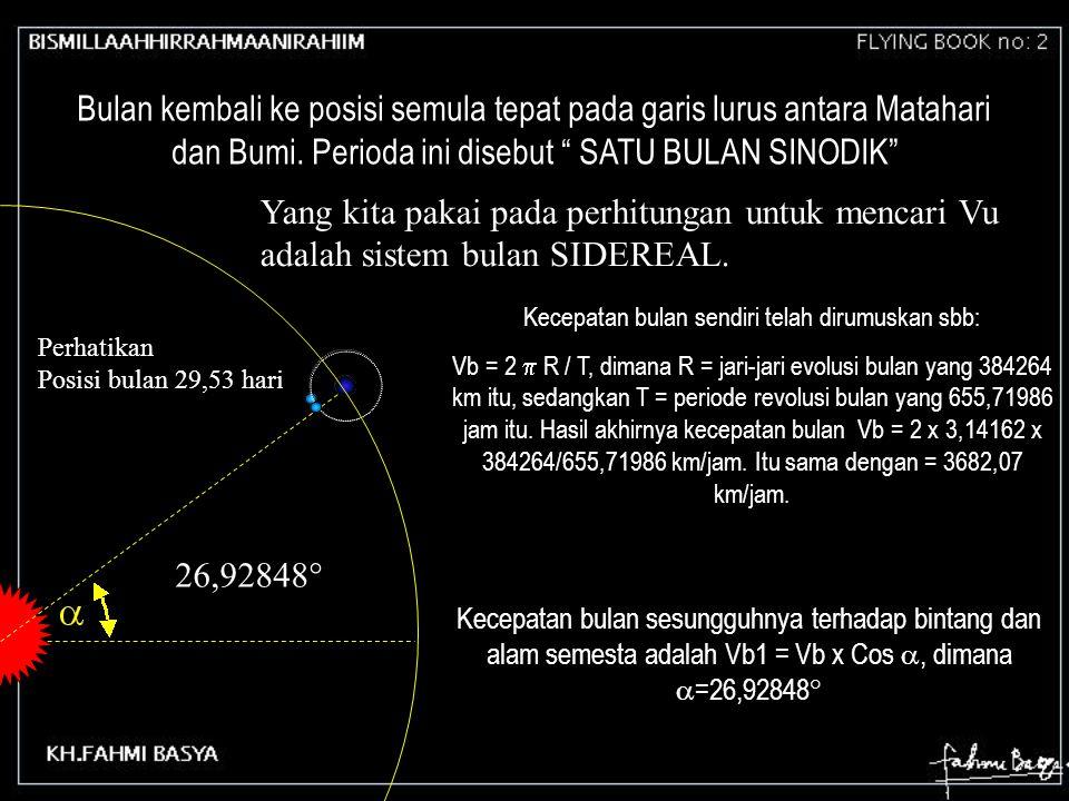 "26,92848° Perhatikan Posisi bulan 29,53 hari Bulan kembali ke posisi semula tepat pada garis lurus antara Matahari dan Bumi. Perioda ini disebut "" SAT"