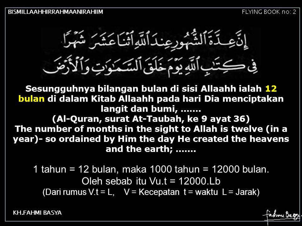 Sesungguhnya bilangan bulan di sisi Allaahh ialah 12 bulan di dalam Kitab Allaahh pada hari Dia menciptakan langit dan bumi, ……. (Al-Quran, surat At-T