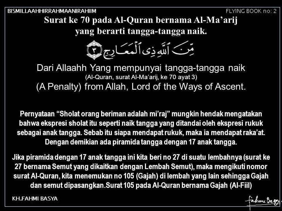 Surat ke 70 pada Al-Quran bernama Al-Ma'arij yang berarti tangga-tangga naik. Dari Allaahh Yang mempunyai tangga-tangga naik (Al-Quran, surat Al-Ma'ar