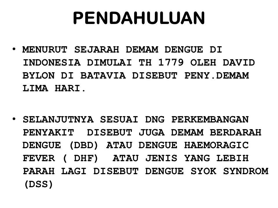 PENDAHULUAN MENURUT SEJARAH DEMAM DENGUE DI INDONESIA DIMULAI TH 1779 OLEH DAVID BYLON DI BATAVIA DISEBUT PENY.DEMAM LIMA HARI. SELANJUTNYA SESUAI DNG