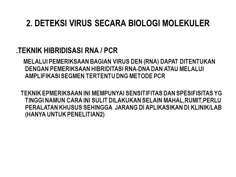 2. DETEKSI VIRUS SECARA BIOLOGI MOLEKULER.TEKNIK HIBRIDISASI RNA / PCR MELALUI PEMERIKSAAN BAGIAN VIRUS DEN (RNA) DAPAT DITENTUKAN DENGAN PEMERIKSAAN