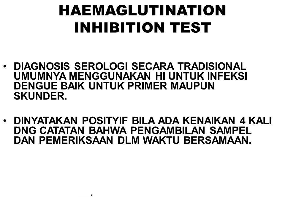 HAEMAGLUTINATION INHIBITION TEST DIAGNOSIS SEROLOGI SECARA TRADISIONAL UMUMNYA MENGGUNAKAN HI UNTUK INFEKSI DENGUE BAIK UNTUK PRIMER MAUPUN SKUNDER. D