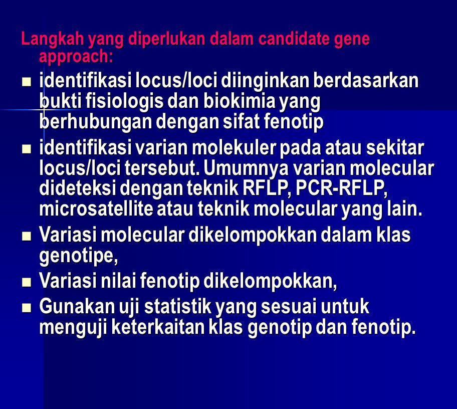 Langkah yang diperlukan dalam candidate gene approach: identifikasi locus/loci diinginkan berdasarkan bukti fisiologis dan biokimia yang berhubungan d