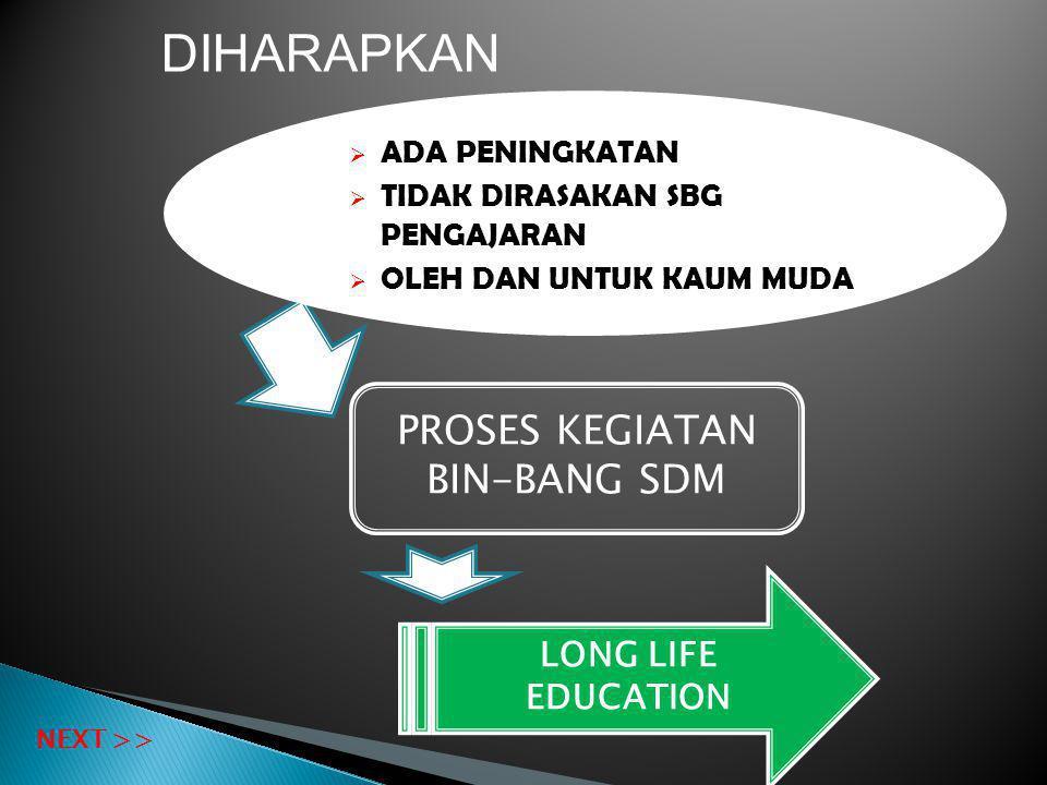 PROSES KEGIATAN BIN-BANG SDM LONG LIFE EDUCATION  ADA PENINGKATAN  TIDAK DIRASAKAN SBG PENGAJARAN  OLEH DAN UNTUK KAUM MUDA NEXT >> DIHARAPKAN