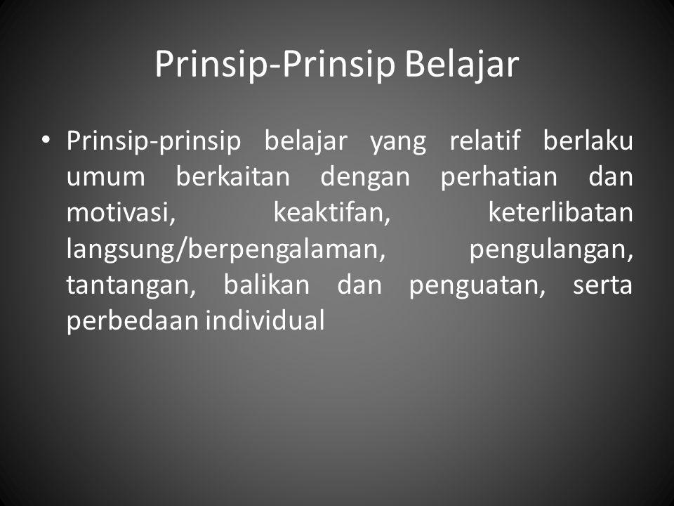 Prinsip-Prinsip Belajar Prinsip-prinsip belajar yang relatif berlaku umum berkaitan dengan perhatian dan motivasi, keaktifan, keterlibatan langsung/be
