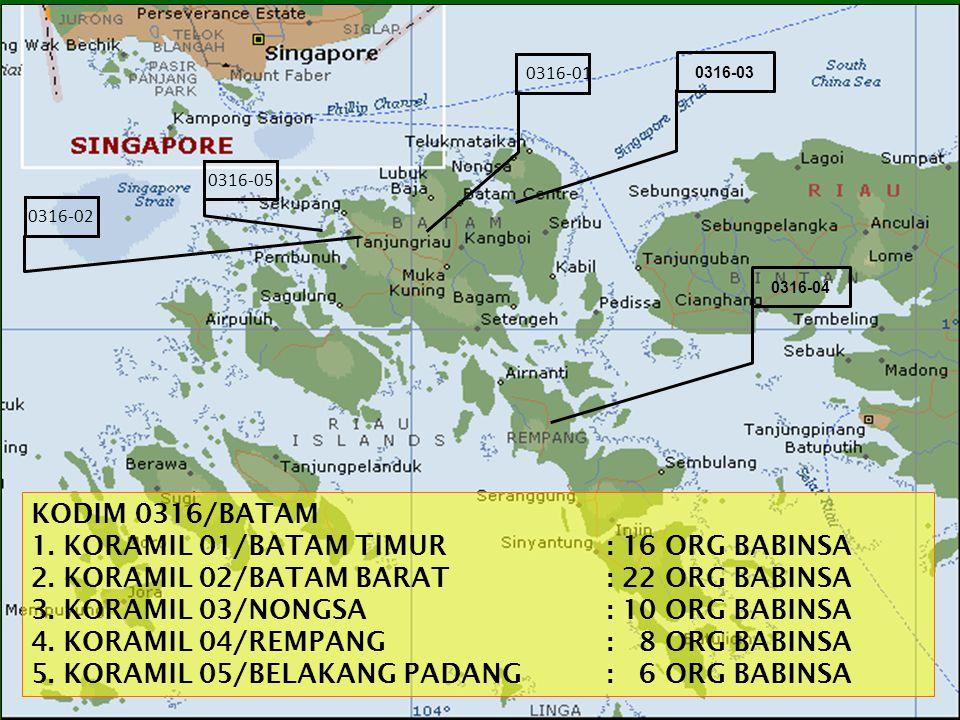 0316-02 0316-01 KODIM 0316/BATAM 1.KORAMIL 01/BATAM TIMUR: 16 ORG BABINSA 2.