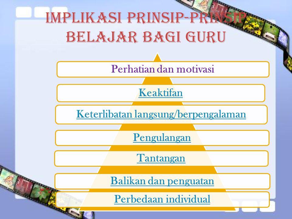 Implikasi Prinsip-Prinsip Belajar bagi Guru Perhatian dan motivasi Keaktifan Keterlibatan langsung/berpengalaman PengulanganTantanganBalikan dan penguatanPerbedaan individual