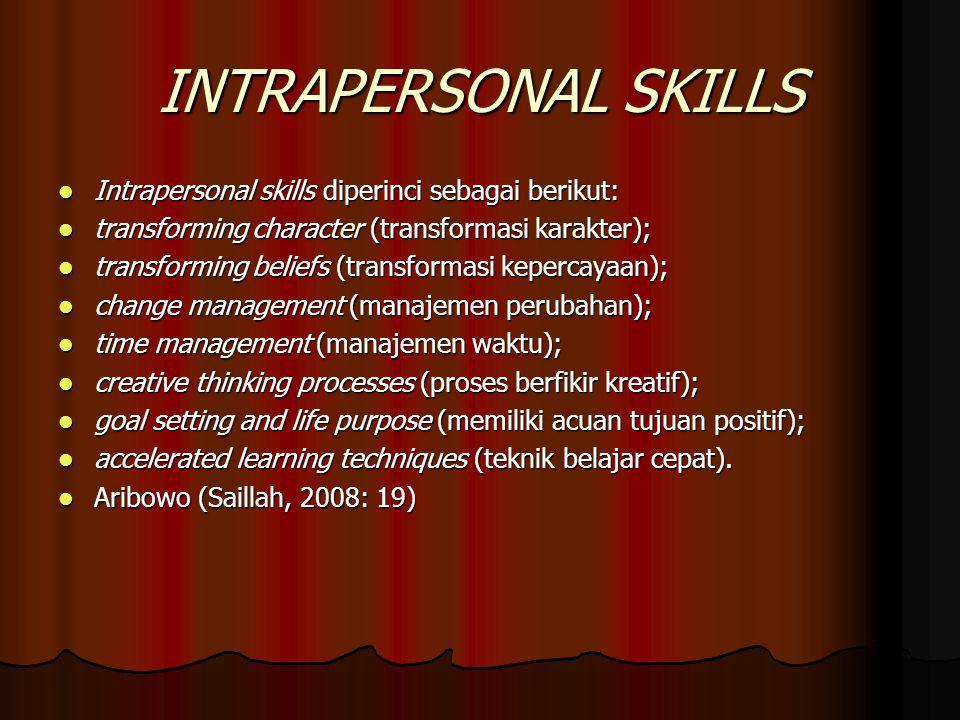 INTRAPERSONAL SKILLS Intrapersonal skills diperinci sebagai berikut: Intrapersonal skills diperinci sebagai berikut: transforming character (transform