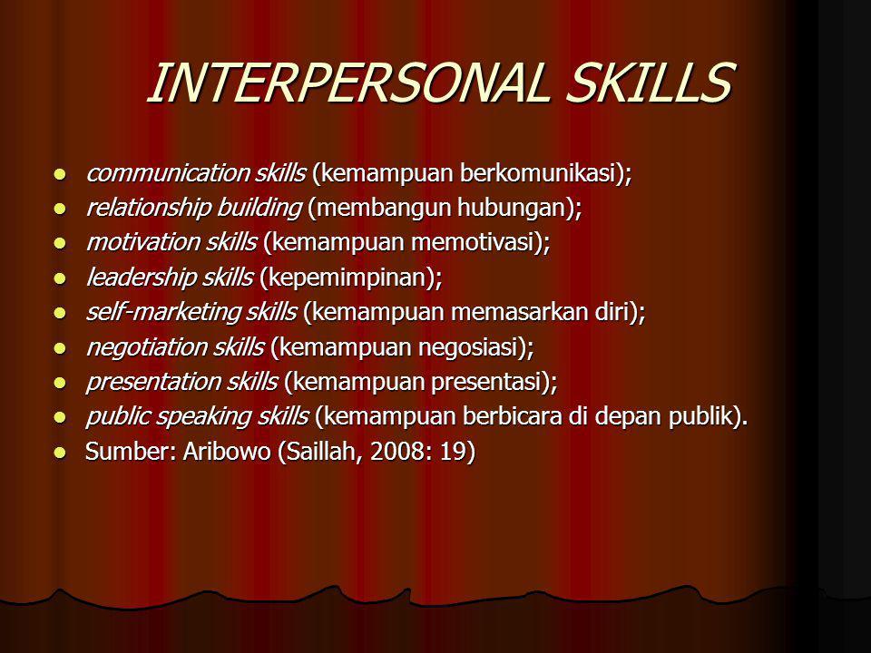 INTERPERSONAL SKILLS communication skills (kemampuan berkomunikasi); communication skills (kemampuan berkomunikasi); relationship building (membangun hubungan); relationship building (membangun hubungan); motivation skills (kemampuan memotivasi); motivation skills (kemampuan memotivasi); leadership skills (kepemimpinan); leadership skills (kepemimpinan); self-marketing skills (kemampuan memasarkan diri); self-marketing skills (kemampuan memasarkan diri); negotiation skills (kemampuan negosiasi); negotiation skills (kemampuan negosiasi); presentation skills (kemampuan presentasi); presentation skills (kemampuan presentasi); public speaking skills (kemampuan berbicara di depan publik).