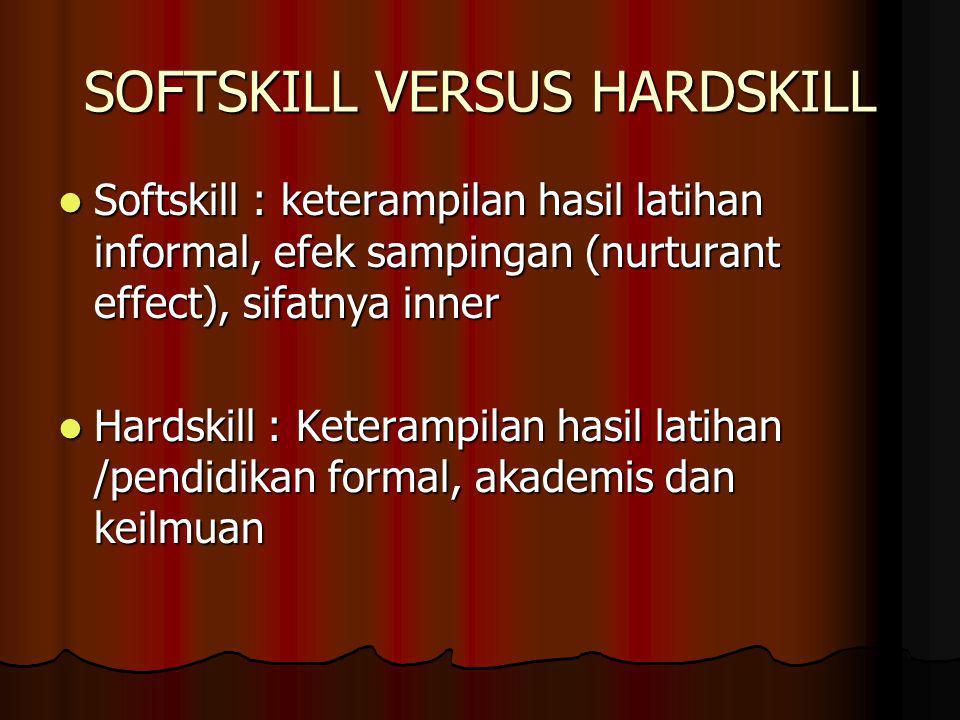 SOFTSKILL VERSUS HARDSKILL Softskill : keterampilan hasil latihan informal, efek sampingan (nurturant effect), sifatnya inner Softskill : keterampilan