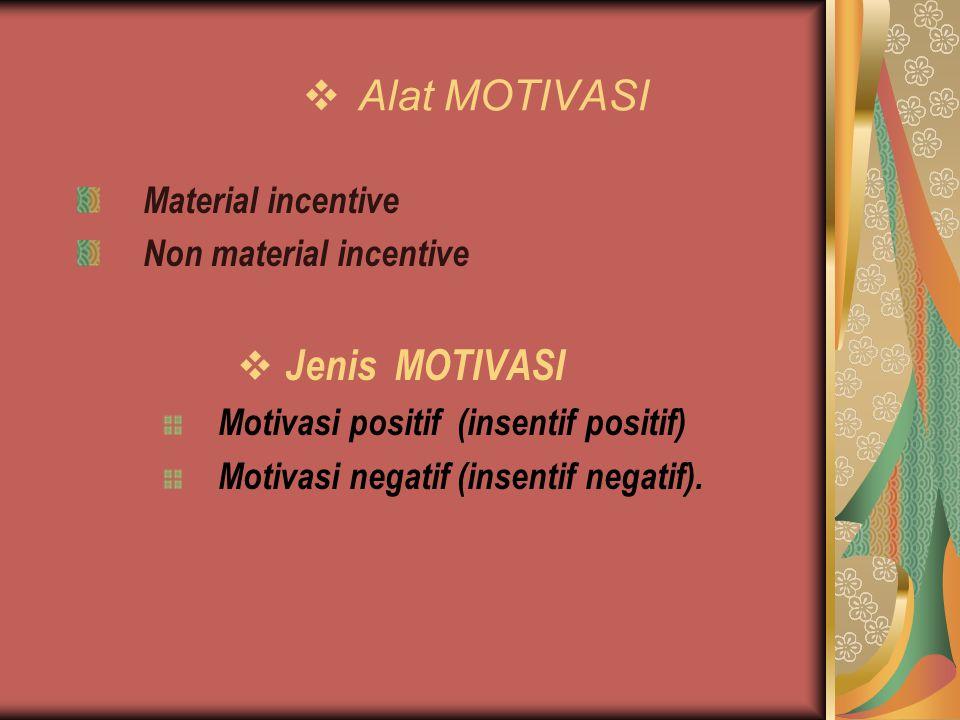 Alat MOTIVASI Material incentive Non material incentive  Jenis MOTIVASI Motivasi positif (insentif positif) Motivasi negatif (insentif negatif).