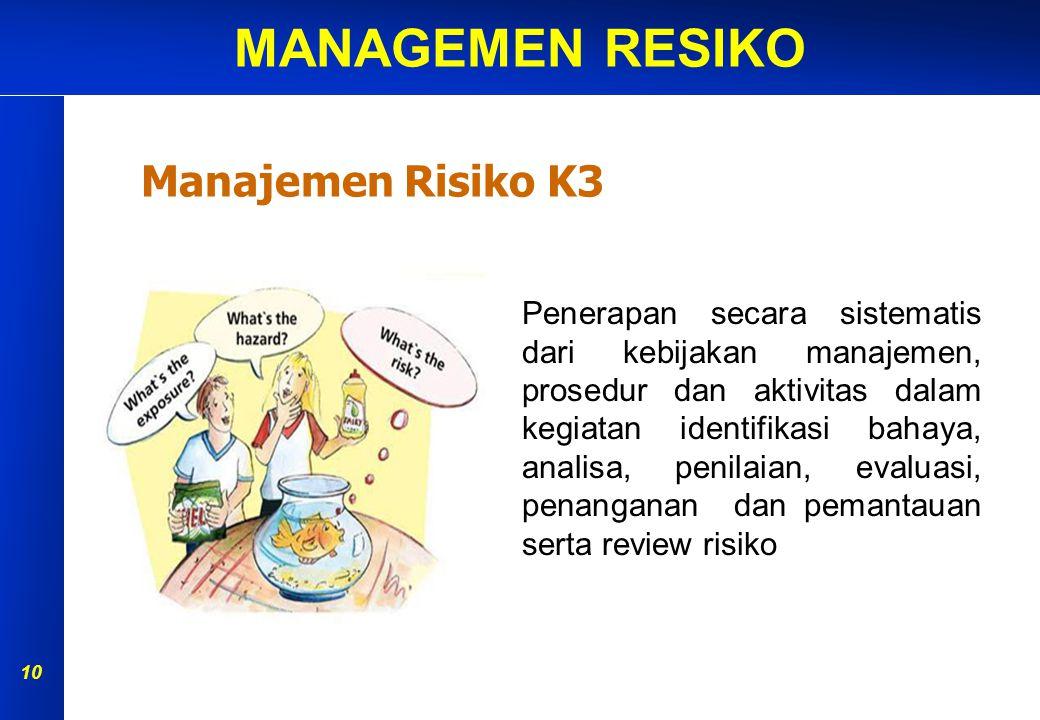 MANAGEMEN RESIKO 9 P Definisi manajemen risiko P Definisi bahaya, risiko, penilaian risiko, analisa risiko P Jenis-jenis bahaya & metode identifikasi bahaya P Metode analisa risiko (matrik risiko) P Prinsip dalam pengendalian risiko di tempat kerja