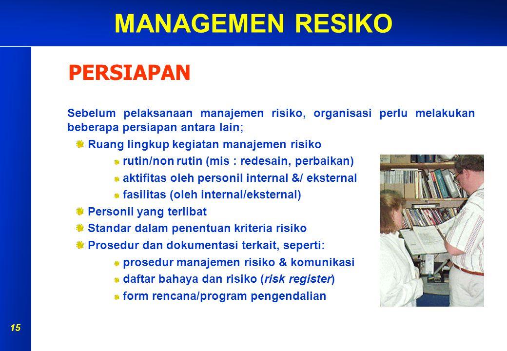 MANAGEMEN RESIKO 14 PERSIAPAN IDENTIFIKASI BAHAYA ANALISA RISIKO EVALUASI RISIKO PENGENDALIAN RISIKO MONITOR & REVIEW AKIBAT KEMUNGKINAN Penilaian Ris