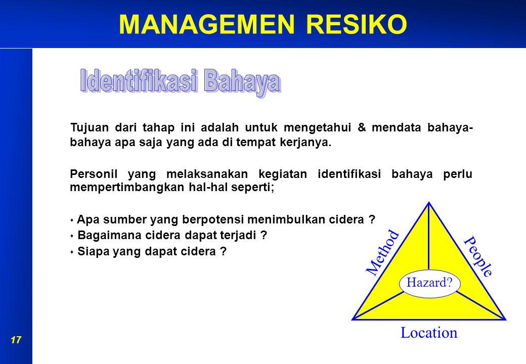 MANAGEMEN RESIKO 16 PERSIAPAN IDENTIFIKASI BAHAYA ANALISA RISIKO EVALUASI RISIKO PENGENDALIAN RISIKO MONITOR & REVIEW AKIBAT KEMUNGKINAN Penilaian Ris