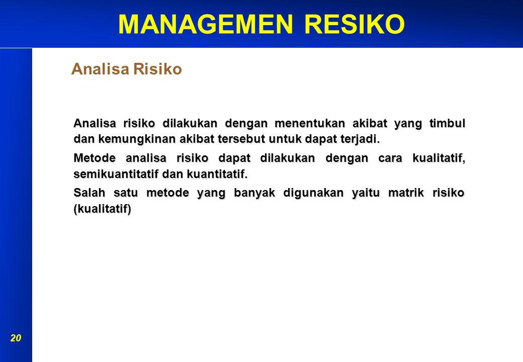 MANAGEMEN RESIKO 19 PERSIAPAN IDENTIFIKASI BAHAYA ANALISA RISIKO EVALUASI RISIKO PENGENDALIAN RISIKO MONITOR & REVIEW AKIBAT KEMUNGKINAN Penilaian Ris