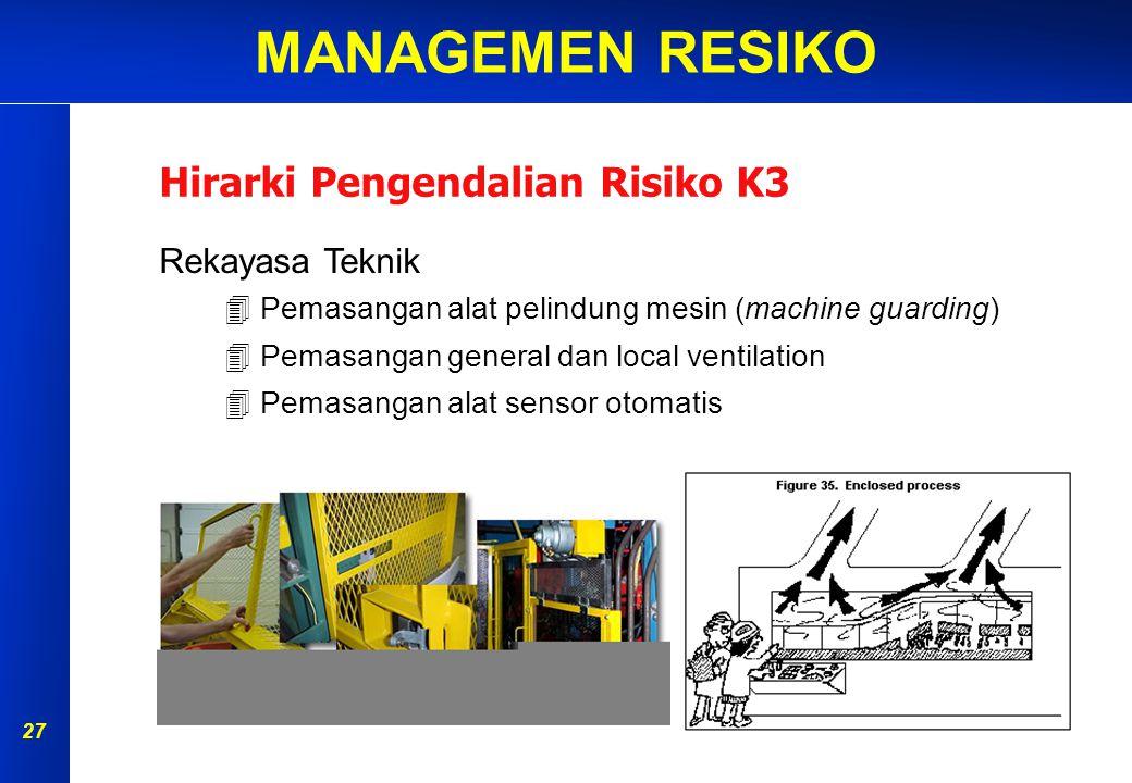 MANAGEMEN RESIKO 26 Hirarki Pengendalian Risiko K3 Eliminasi Yaitu dengan menghilangkan sumber bahaya di tempat kerja.Subtitusi Yaitu mengganti dengan