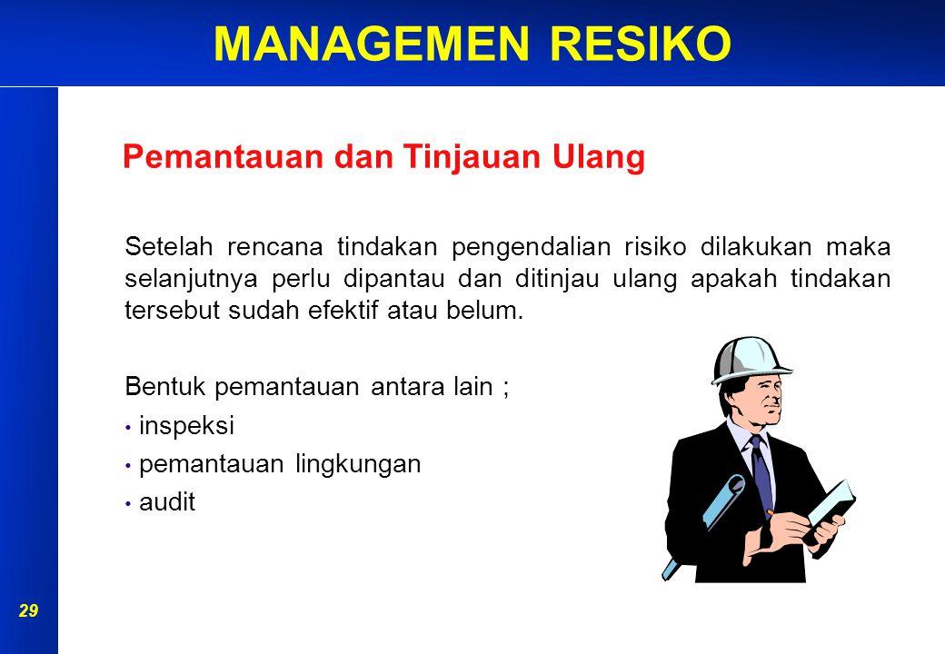 MANAGEMEN RESIKO 28 Pengendalian Administratif  Pemisahan lokasi  Pergantian shift kerja  Pemberlakuan sistim ijin kerja  Pelatihan karyawan Hirarki Pengendalian Risiko K3 Pembatasan akses ke area kerja