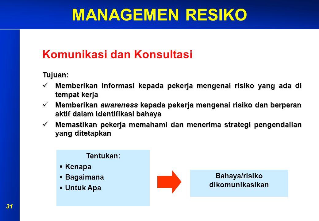 MANAGEMEN RESIKO 30 PERSIAPAN IDENTIFIKASI BAHAYA ANALISA RISIKO EVALUASI RISIKO PENGENDALIAN RISIKO MONITOR & REVIEW AKIBAT KEMUNGKINAN Penilaian Risiko KOMUNIKASI & KONSULTASI