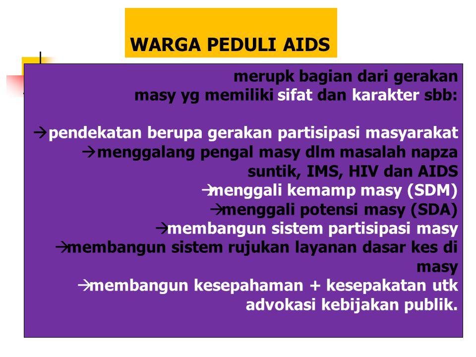WARGA PEDULI AIDS merupk bagian dari gerakan masy yg memiliki sifat dan karakter sbb:  pendekatan berupa gerakan partisipasi masyarakat  menggalang