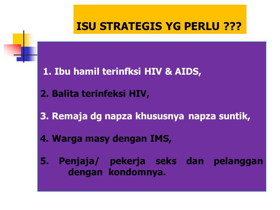 ISU STRATEGIS YG PERLU ??? 1. Ibu hamil terinfksi HIV & AIDS, 2. Balita terinfeksi HIV, 3. Remaja dg napza khususnya napza suntik, 4. Warga masy denga