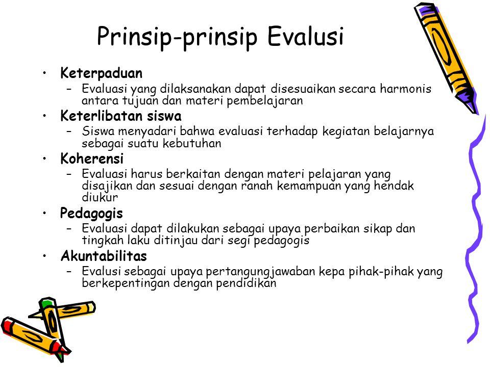 Prinsip-prinsip Evalusi Keterpaduan –Evaluasi yang dilaksanakan dapat disesuaikan secara harmonis antara tujuan dan materi pembelajaran Keterlibatan siswa –Siswa menyadari bahwa evaluasi terhadap kegiatan belajarnya sebagai suatu kebutuhan Koherensi –Evaluasi harus berkaitan dengan materi pelajaran yang disajikan dan sesuai dengan ranah kemampuan yang hendak diukur Pedagogis –Evaluasi dapat dilakukan sebagai upaya perbaikan sikap dan tingkah laku ditinjau dari segi pedagogis Akuntabilitas –Evalusi sebagai upaya pertangungjawaban kepa pihak-pihak yang berkepentingan dengan pendidikan