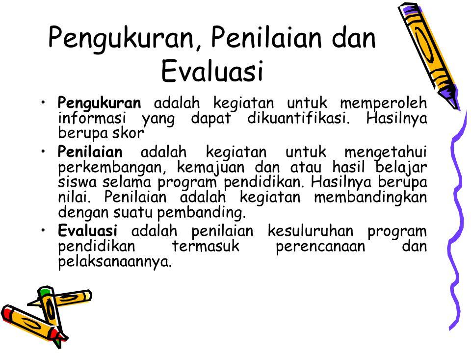 Pengukuran, Penilaian dan Evaluasi Pengukuran adalah kegiatan untuk memperoleh informasi yang dapat dikuantifikasi.