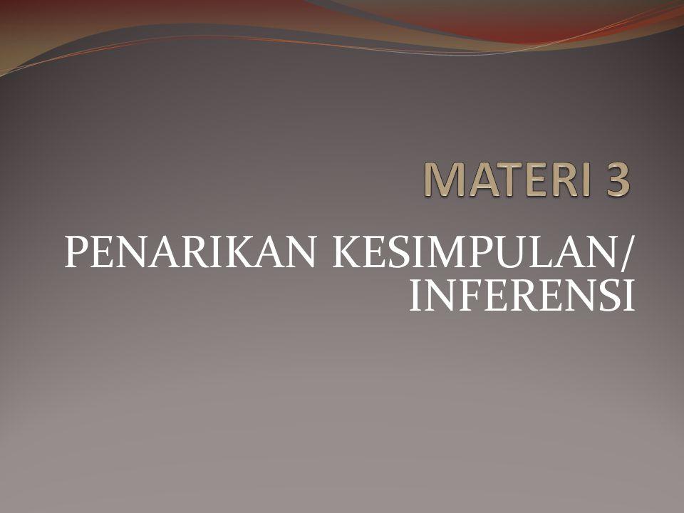 PENARIKAN KESIMPULAN Proses penarikan kesimpulan dari beberapa proposisi disebut inferensi (inference).