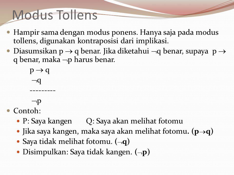Modus Tollens Hampir sama dengan modus ponens. Hanya saja pada modus tollens, digunakan kontraposisi dari implikasi. Diasumsikan p  q benar. Jika dik