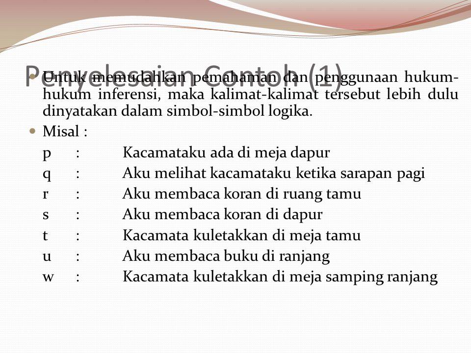 Penyelesaian Contoh (1) Dengan simbol-simbol tersebut maka fakta-fakta di atas dapat ditulis sebagai berikut : (a) p  q (b) r  s (c) r  t (d)  q (e) u  w (f) s  p