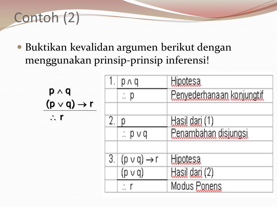 Contoh (2) Buktikan kevalidan argumen berikut dengan menggunakan prinsip-prinsip inferensi! p  q p  q (p  q)  r  r  r  r  r