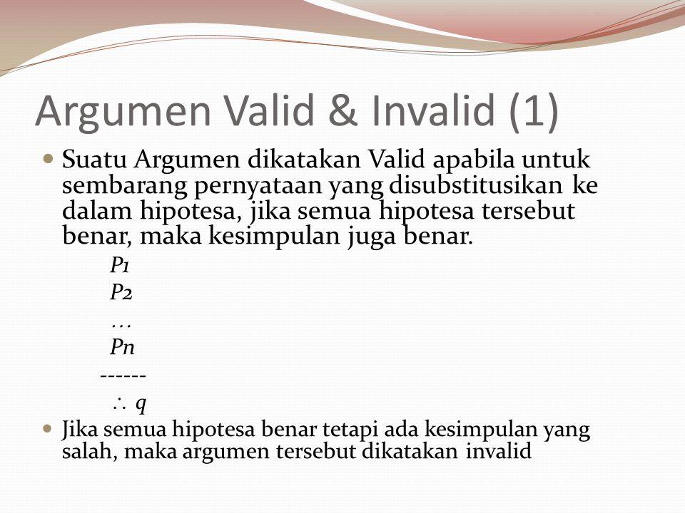 Argumen Valid & Invalid (1) Suatu Argumen dikatakan Valid apabila untuk sembarang pernyataan yang disubstitusikan ke dalam hipotesa, jika semua hipote