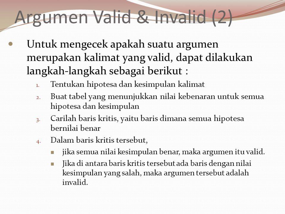 Argumen Valid & Invalid (2) Untuk mengecek apakah suatu argumen merupakan kalimat yang valid, dapat dilakukan langkah-langkah sebagai berikut : 1. Ten