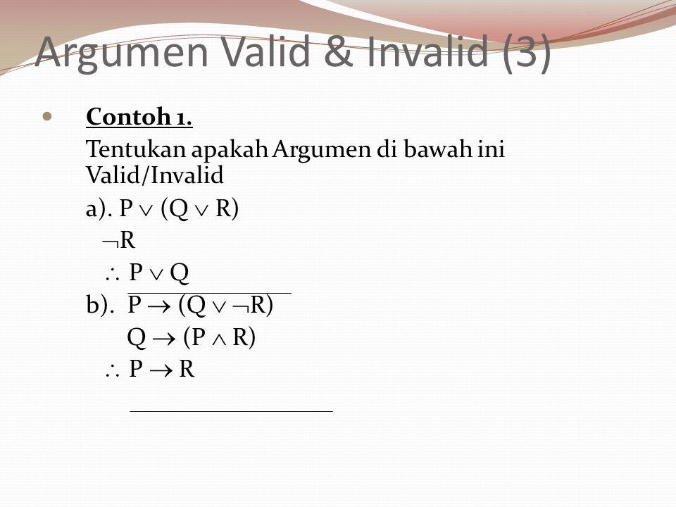 Argumen Valid & Invalid (3) Contoh 1. Tentukan apakah Argumen di bawah ini Valid/Invalid a). P  (Q  R)  R  P  Q b). P  (Q   R) Q  (P  R)  P