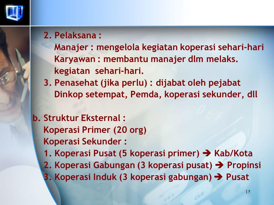 15 2. Pelaksana : Manajer : mengelola kegiatan koperasi sehari-hari Karyawan : membantu manajer dlm melaks. kegiatan sehari-hari. 3. Penasehat (jika p