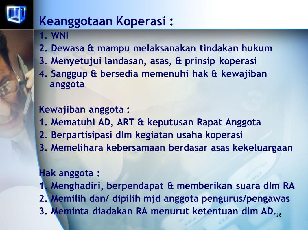 18 Keanggotaan Koperasi : 1. WNI 2. Dewasa & mampu melaksanakan tindakan hukum 3. Menyetujui landasan, asas, & prinsip koperasi 4. Sanggup & bersedia