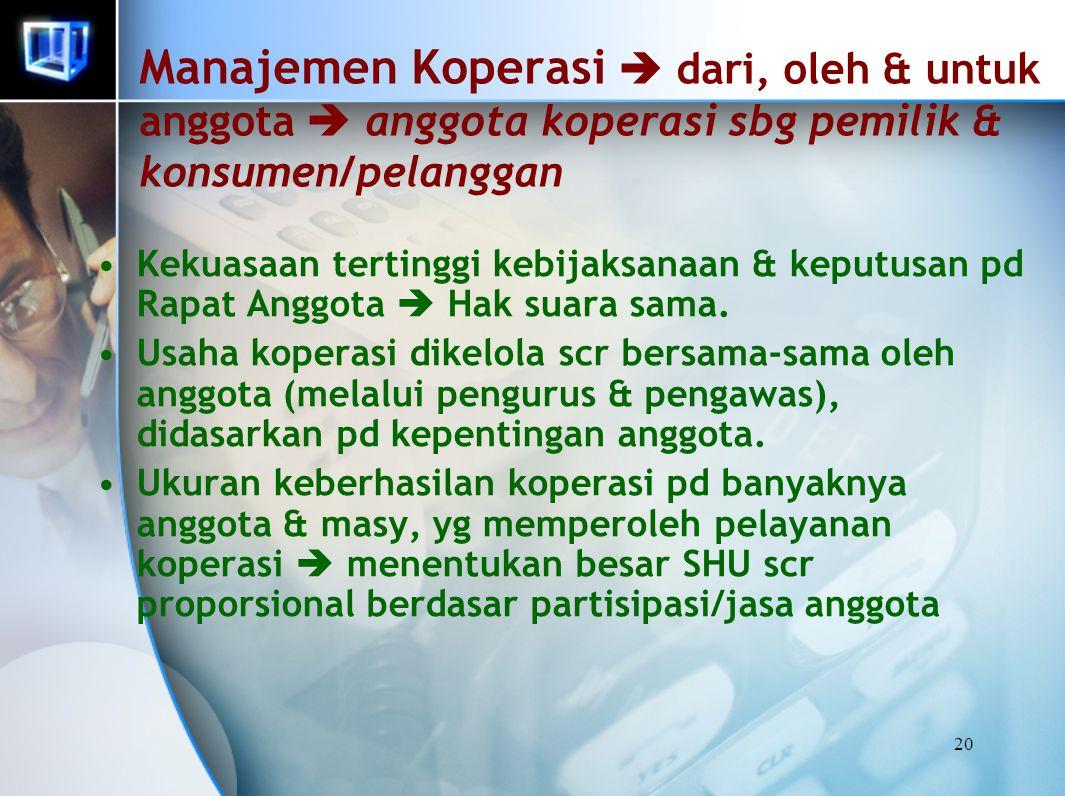 20 Manajemen Koperasi  dari, oleh & untuk anggota  anggota koperasi sbg pemilik & konsumen/pelanggan Kekuasaan tertinggi kebijaksanaan & keputusan p