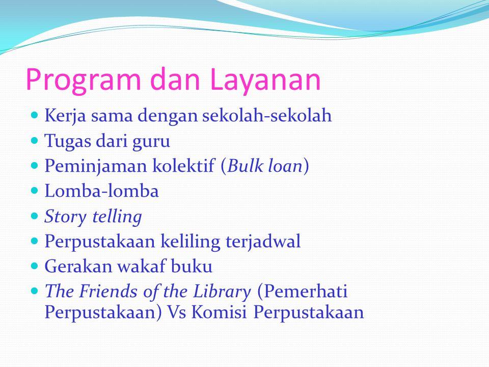 Program dan Layanan Kerja sama dengan sekolah-sekolah Tugas dari guru Peminjaman kolektif (Bulk loan) Lomba-lomba Story telling Perpustakaan keliling