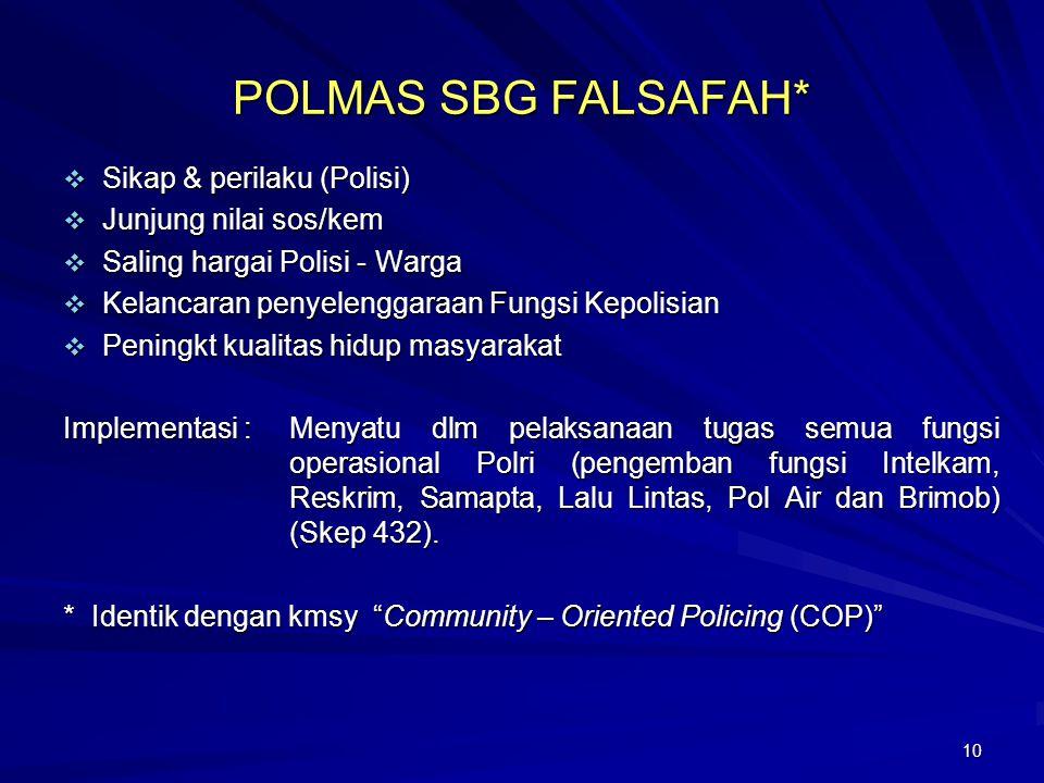 10 POLMAS SBG FALSAFAH*  Sikap & perilaku (Polisi)  Junjung nilai sos/kem  Saling hargai Polisi - Warga  Kelancaran penyelenggaraan Fungsi Kepolis