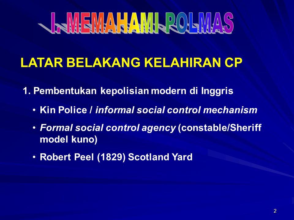 2 LATAR BELAKANG KELAHIRAN CP 1. Pembentukan kepolisian modern di Inggris Kin Police / informal social control mechanism Formal social control agency