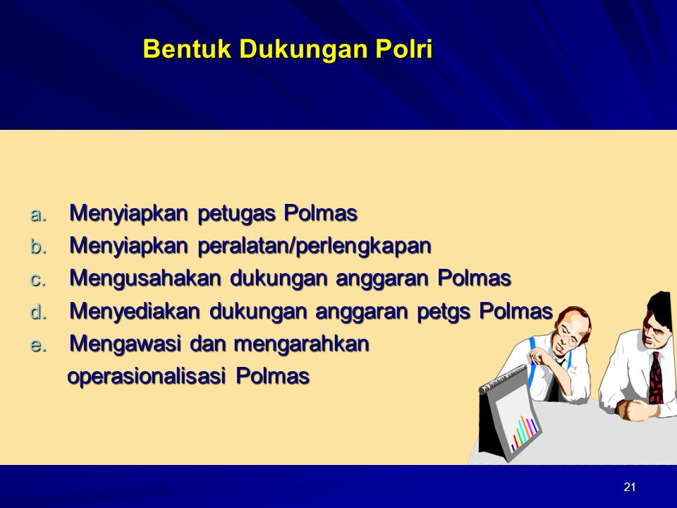 21 Bentuk Dukungan Polri a. Menyiapkan petugas Polmas b. Menyiapkan peralatan/perlengkapan c. Mengusahakan dukungan anggaran Polmas d. Menyediakan duk