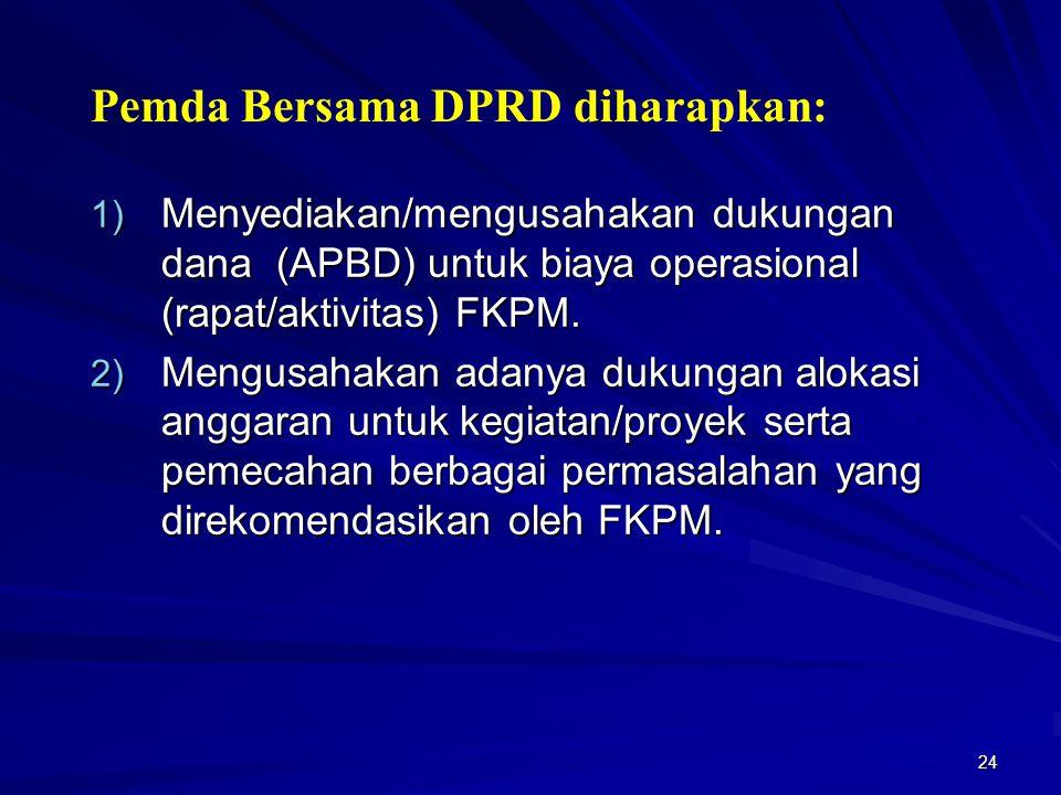 24 1) Menyediakan/mengusahakan dukungan dana (APBD) untuk biaya operasional (rapat/aktivitas) FKPM. 2) Mengusahakan adanya dukungan alokasi anggaran u
