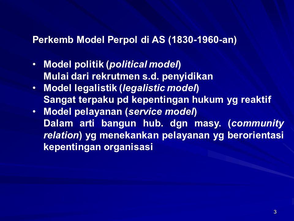 3 Perkemb Model Perpol di AS (1830-1960-an) Model politik (political model) Mulai dari rekrutmen s.d. penyidikan Model legalistik (legalistic model) S